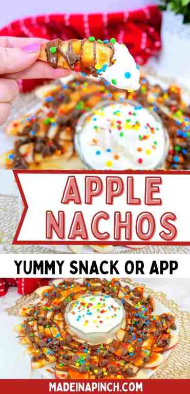 Make this super easy Apple Nachos snack for your kids. It's a fun twist on an already kid-friendly food that will please even the pickiest of eaters! The best part about a snack is that it comes together quickly and with only a few ingredients. These apple nachos are a perfect snack because all you need to do is slice up an apple and sprinkle on your favorite toppings! The accompanying fruit dip is completely optional (but heavenly)! | #kidfriendlysnacks #easysnackrecipes #applerecipes #healthysnacks #summersnacks  #freshfruitrecipes #madeinapinch
