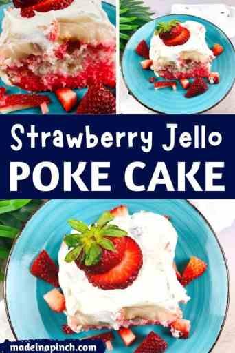 Strawberry jello poke cake pin image