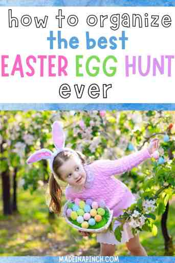 Easter egg hunts are classic, fun activities that kids LOVE doing. Organize the best easter egg hunt in town with these EASY tips! Perfect for any home and any age! #easter #easteregg #easteregghunt