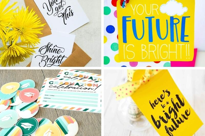free graduation printables and gifts collage image