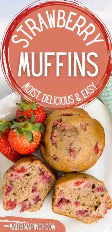 The PERFECT spring and summertime muffin! Pockets of juicy fresh strawberries in soft, protein-filled strawberry muffins that are so delicious, they'll delight the pickiest of eaters. Make them with fresh or frozen strawberries and serve for breakfast, brunch, snacks, or dessert! #strawberrybread #strawberrymuffins #strawberryrecipes | Made in A Pinch @madeinapinch