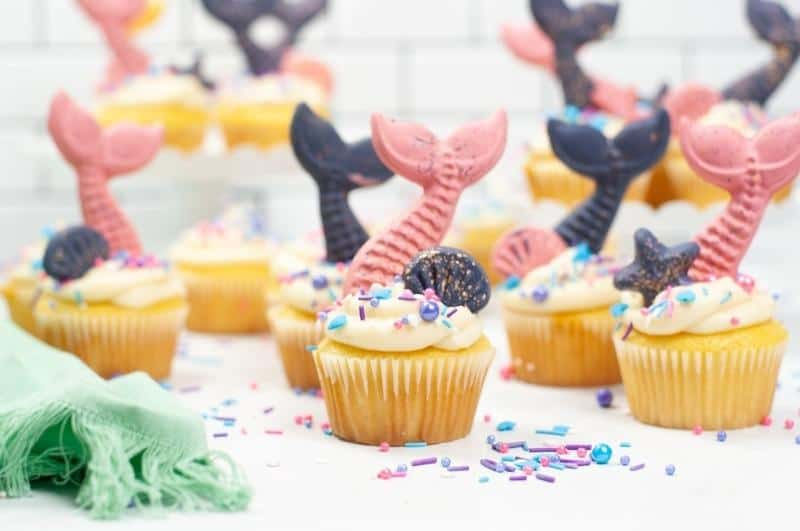 finished mermaid cupcakes