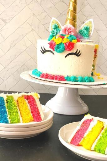 unicorn birthday cake with a cut slice