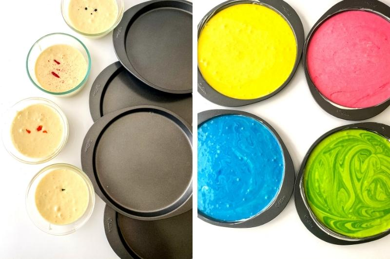 coloring the different cake layers