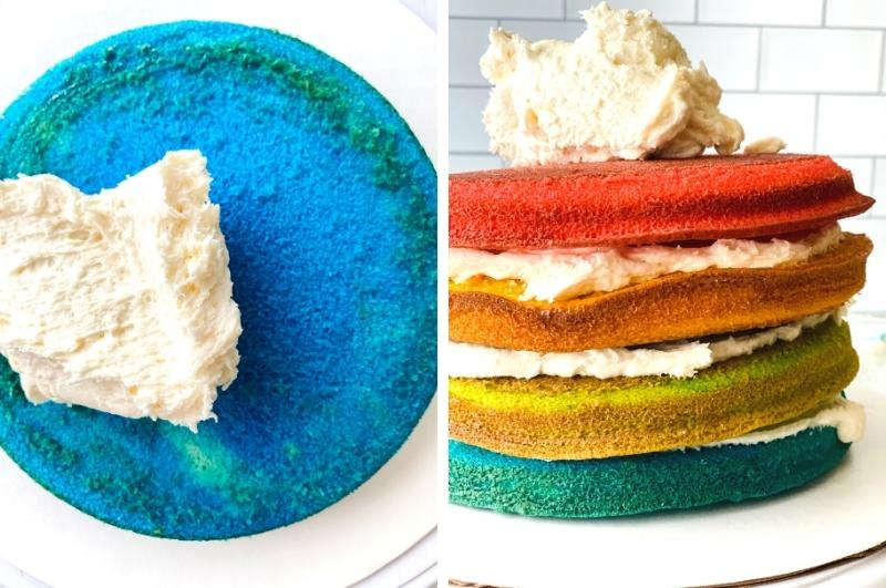 putting the layers of rainbow cake together