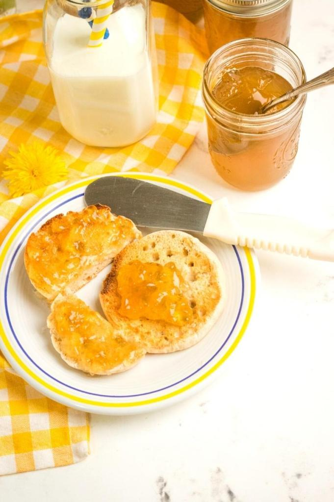 dandelion jelly on an English muffin
