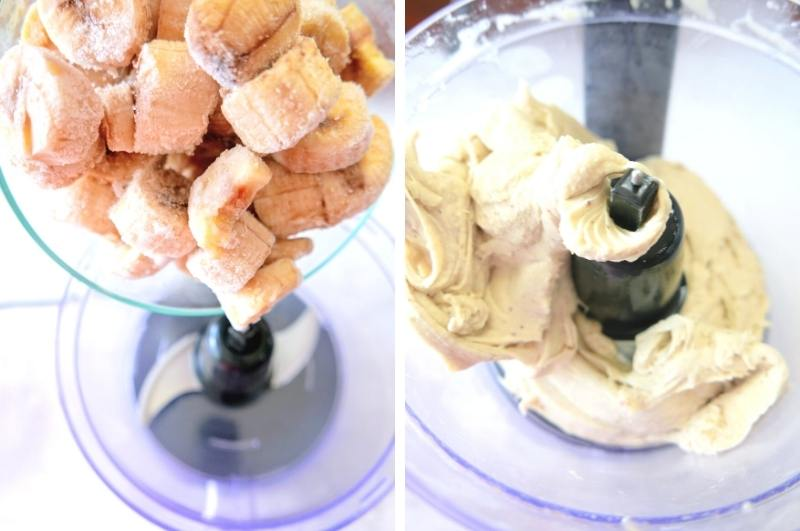 process image collage of food processing frozen bananas