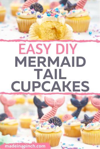 DIY speckled mermaid cupcakes pin image