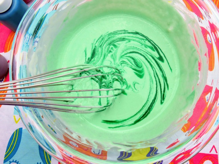adding food coloring to DIY outdoor puffy paint