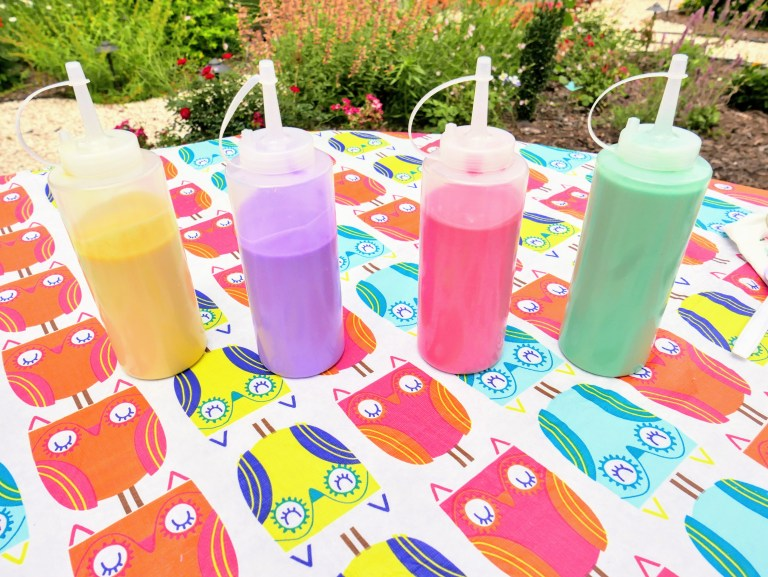 different colors DIY outdoor puffy paint in bottles