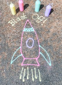rocket drawing with outdoor puffy paint