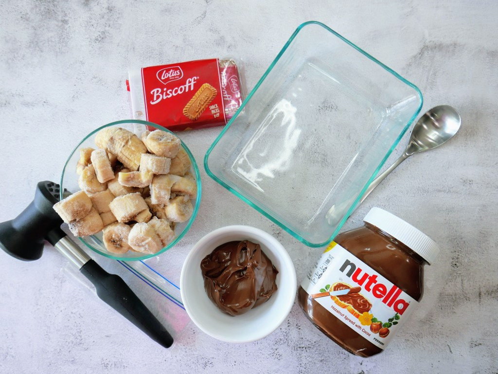 ingredients and supplies for making banana nice cream