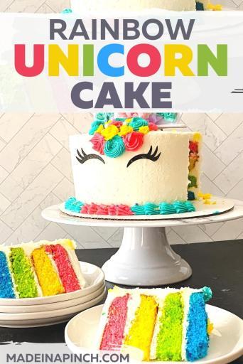 rainbow birthday cake pin image