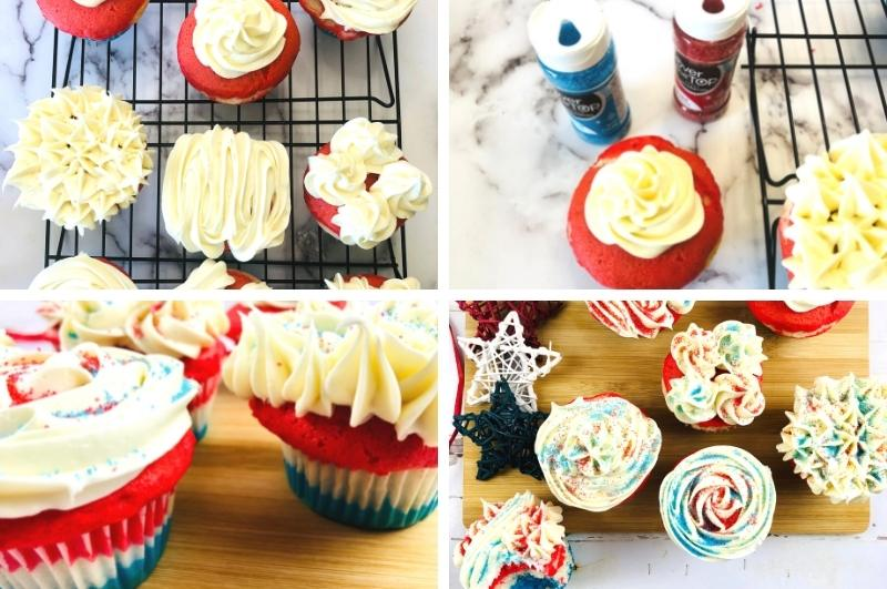 frosting cupcakes process image collage