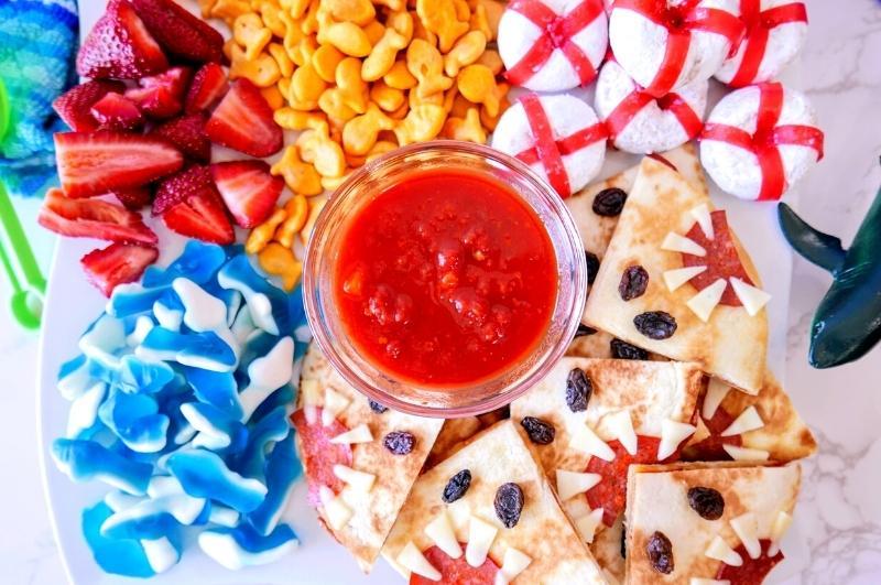 shark party food: shark-cuterie board