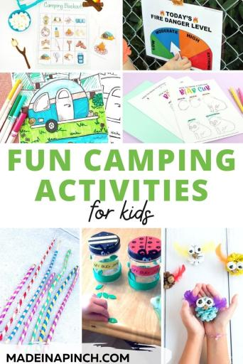 camping activities for kids pin image