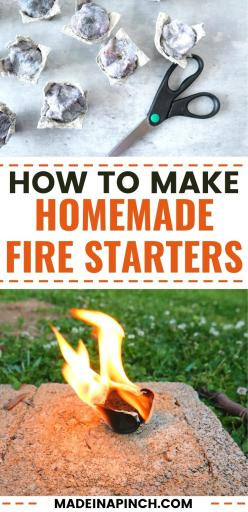 how to make a homemade fire starter pin image