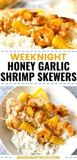 Honey Garlic Shrimp and Pineapple Skewers! These shrimp kabobs are cooked in the most mouth-watering honey garlic butter sauce! This family favorite is bursting with flavor and yet super quick to make for a weeknight dinner. Cook in a pan, the oven, or grill! #shrimp #honeygarlic #pineapple #kabobs