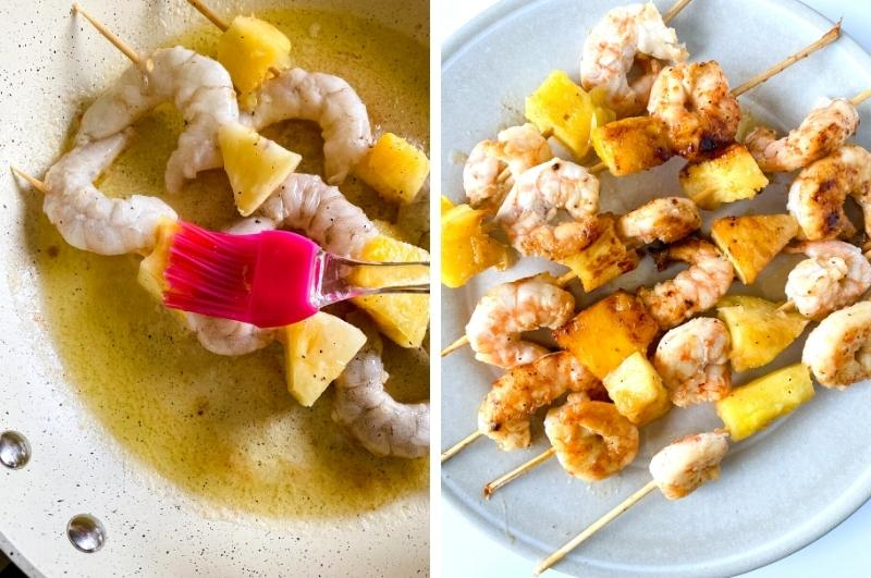 pineapple and shrimp skewers process collage