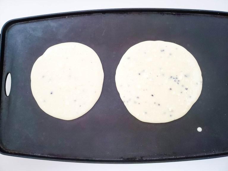 pancake batter on griddle