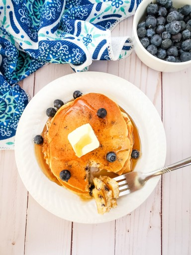 blueberry muffin mix pancakes from above