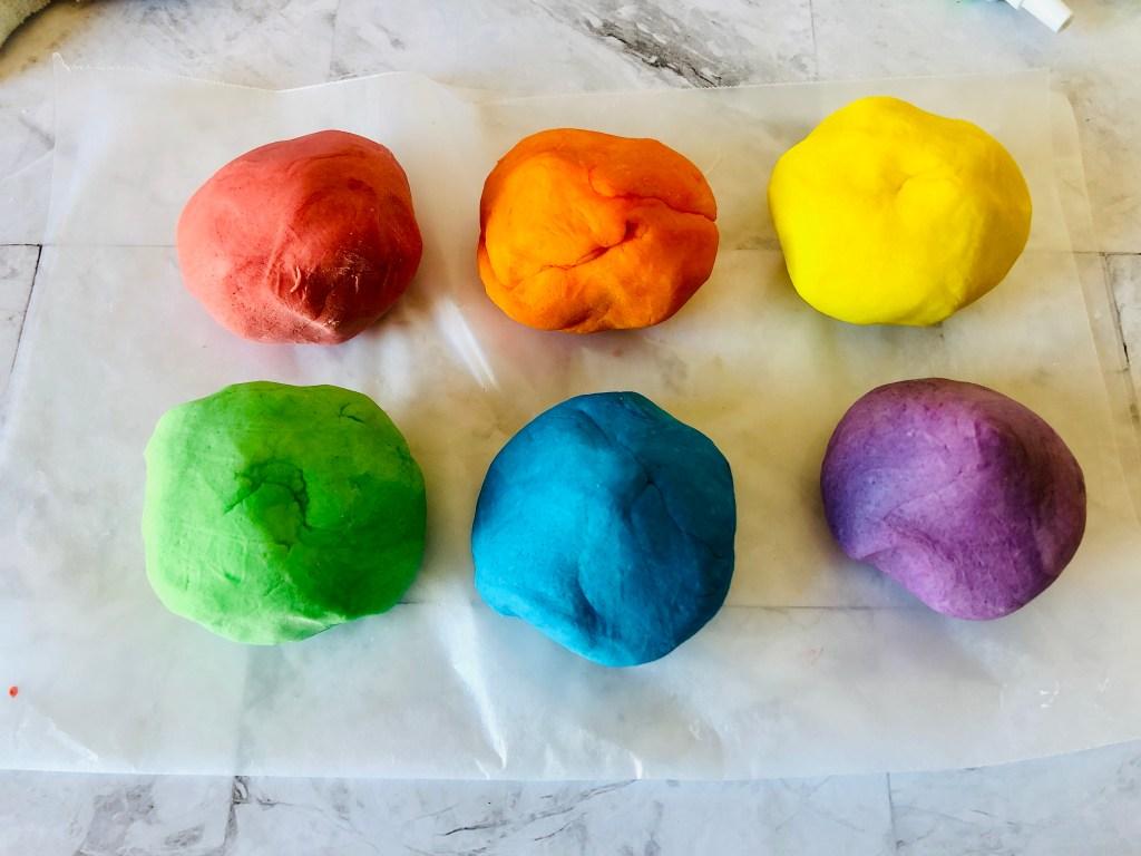balls of colored homemade playdough