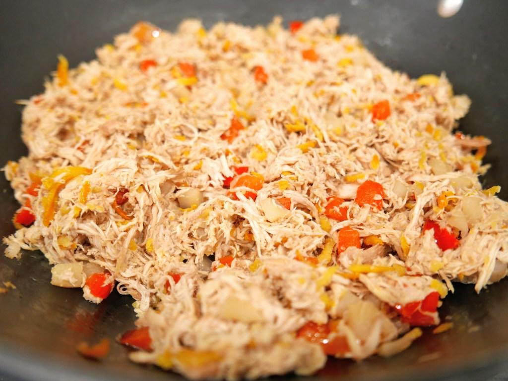 shredded chicken mixture for lettuce wraps