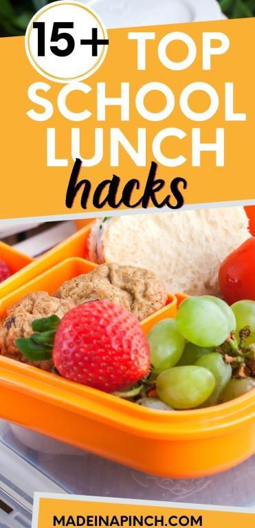 school lunch hacks long pin image