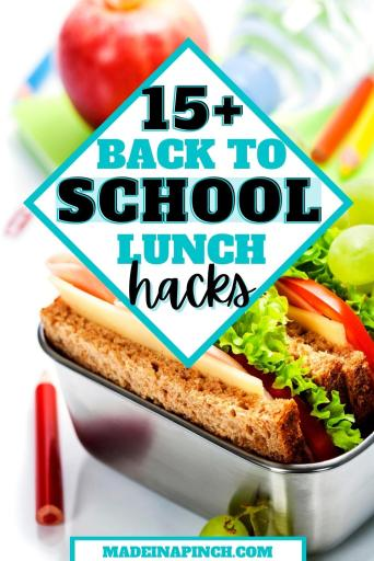 school lunch hacks pin image