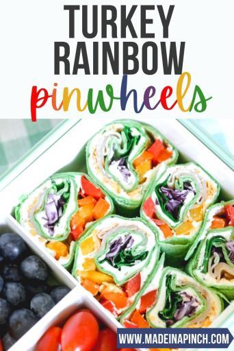 turkey rainbow pinwheels lunch idea