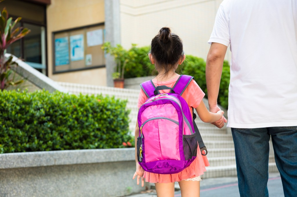 back-to-school preparation tips - dad walking girl to school on the first day