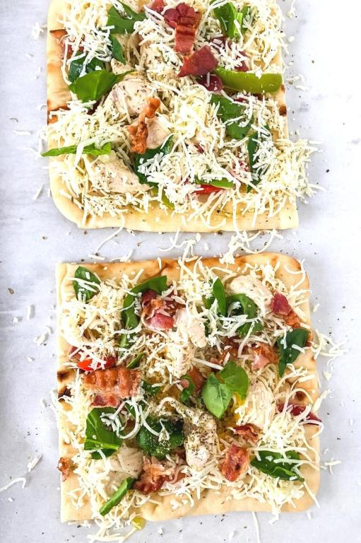 ingredients on top of flatbread