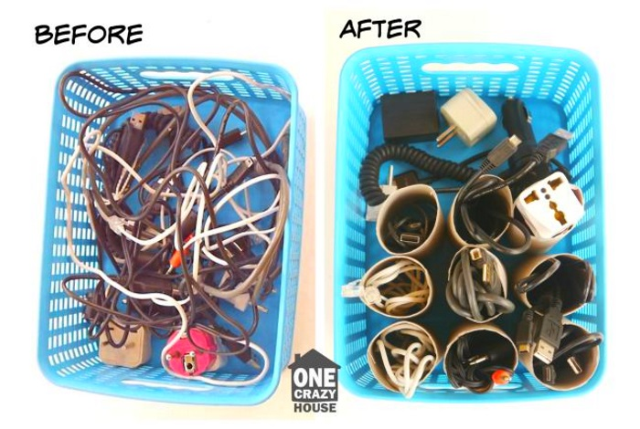 using toile paper rolls to keep cords organized
