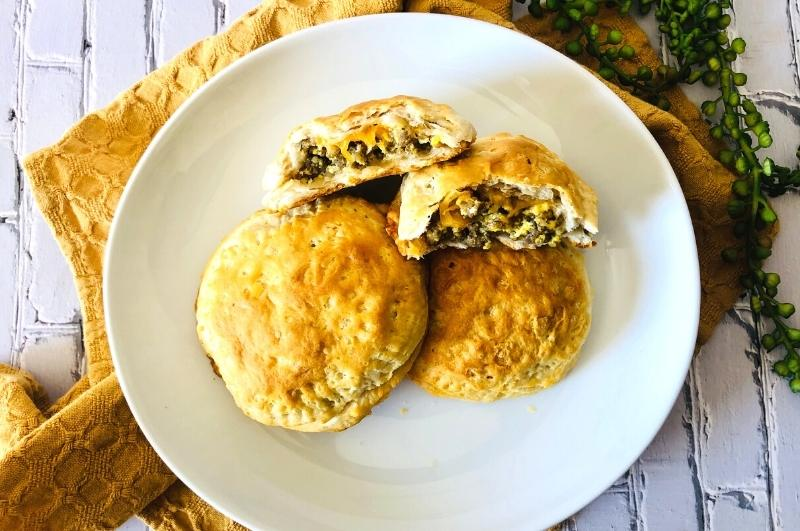stuffed breakfast biscuits on a plate
