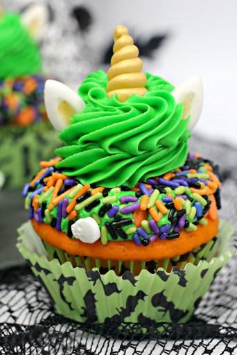 Halloween unicorn cupcakes closeup