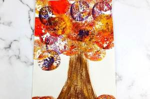 fall apple stamping painting craft