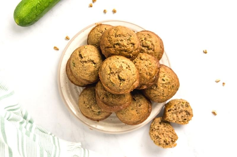 healthy zucchini muffins on a plate from above