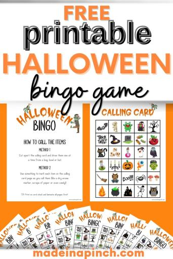 Free Halloween Bingo printable game pin