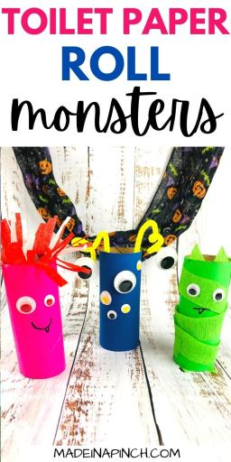Toilet Paper Roll Monsters craft pin