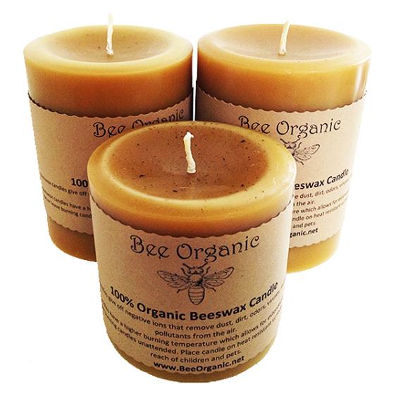 Bee Organic Beeswax Candles Medium Pillar Set