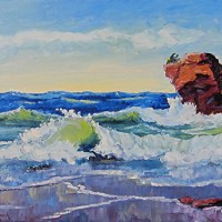 Lake Superior Summer Waves Oil Painting