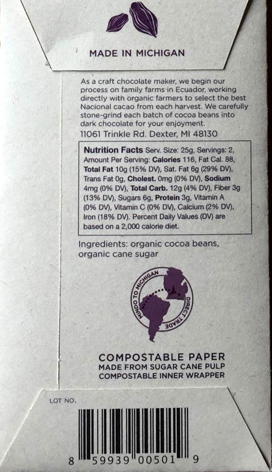 Pure 77% Dark Chocolate Bar Ingredients