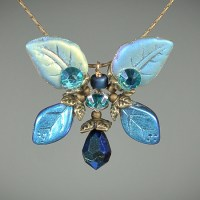 Classic Butterfly Necklace Montana Blue