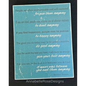 Mother Teresa's Paradoxical Commandments Word Art Sign