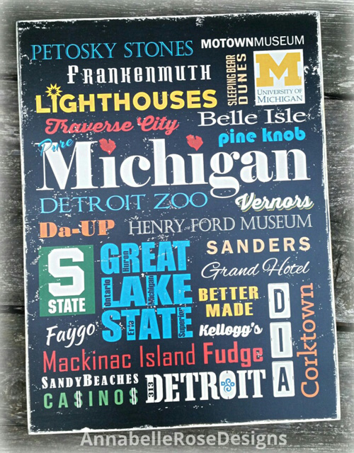 Pure Michigan Cities & Attractions in Full Color Word Art Sign