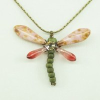 Salmon Baby Dragonfly Necklace