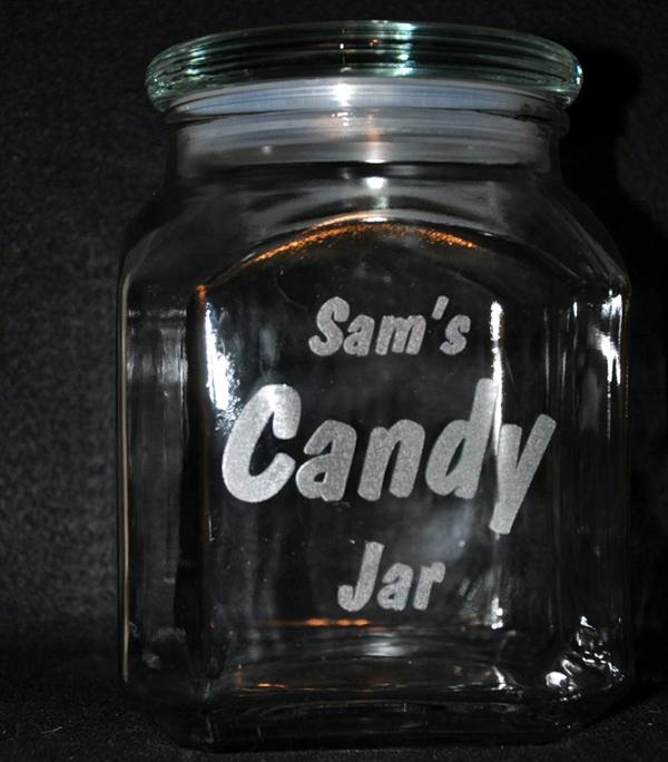 laser engraved candy jar