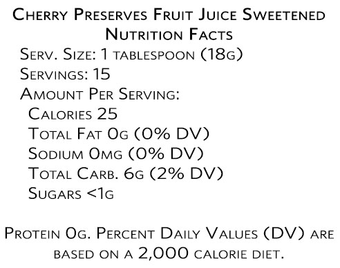 Cherry Preserves Fruit Juice Sweetened Nutrition Facts