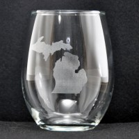 Laser Engraved Michigan Stemless Glass