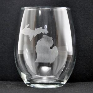 Laser Engraved Michigan Stemless Glass